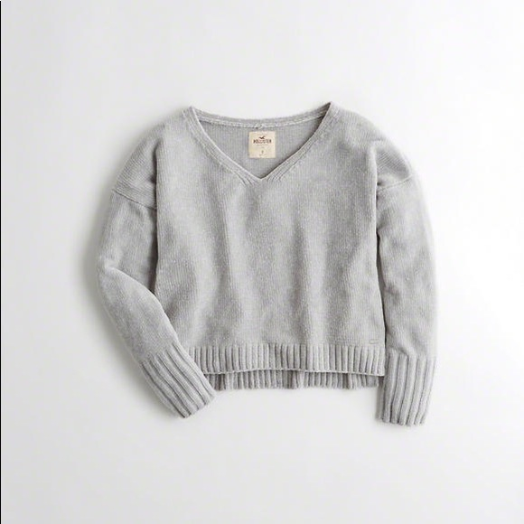 Grey Chenille Cropped Sweater